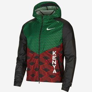Nike Shield Kenya Running Jacket Hoodie Marathon Olympic Team Red Green Black